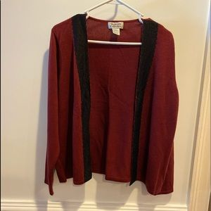 Style & CO Red with black lace sweater